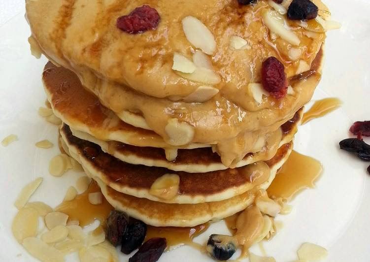 Simple Way to Prepare Most Popular Cashew Nut Pancake Top Peanut Butter And Honey