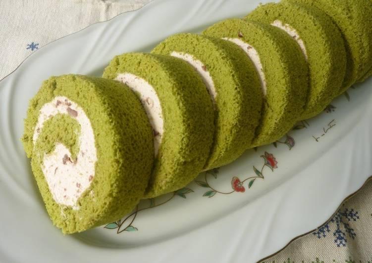 Recipe: Appetizing Fluffy Green Tea Chiffon Swiss Roll with Adzuki Cream