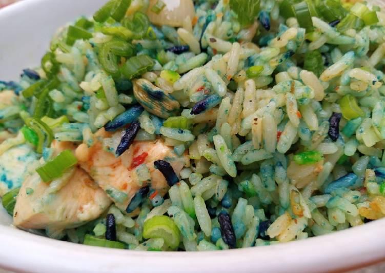 Coloured chicken stir fried rice