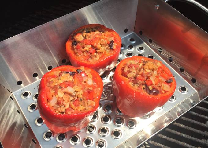Vegan Stuffed Grilled Red Bell Peppers
