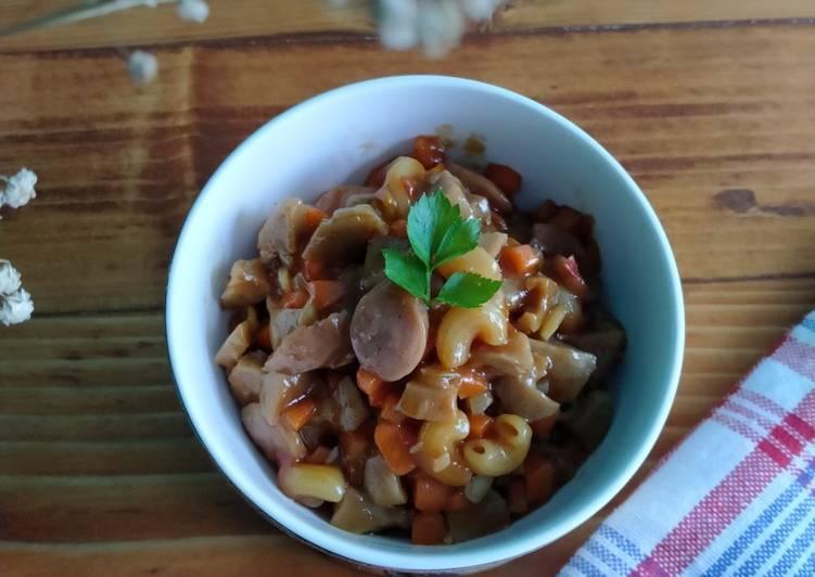 Macaroni Sosis Bakso Wortel bumbu manis