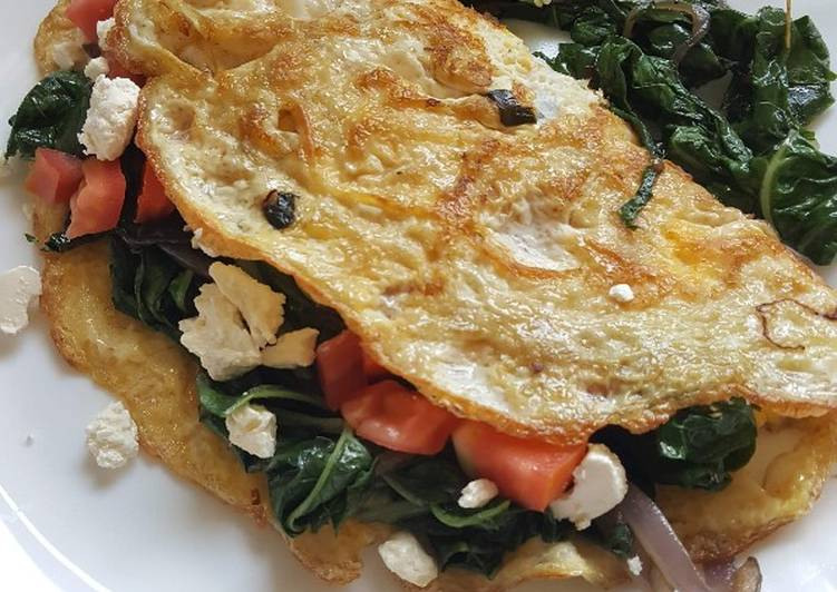 Steps to Make Any-night-of-the-week Spinach Tomato & Feta Omelette