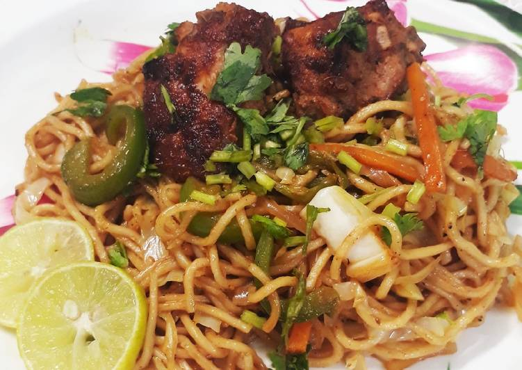 Easiest Way to Make Delicious Peri peri noodles with pan fried chicken