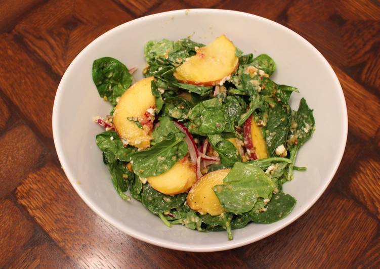 Spinach, Peach and Goat Cheese Salad