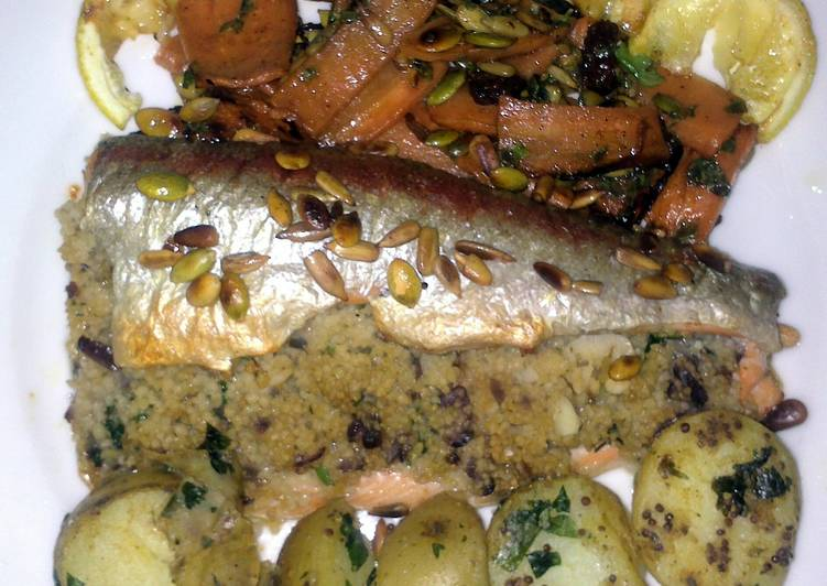 Recipe of Ultimate Sig's trout with couscous and herbs