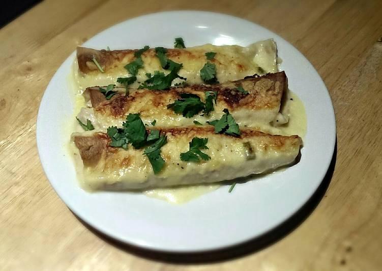 White Chicken Enchiladas with Green Chile Sour Cream Sauce