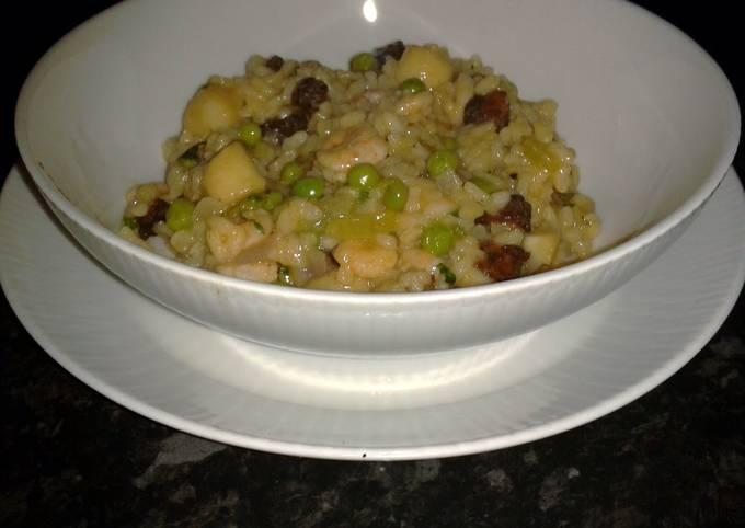Scallop and Prawn Risotto with Chorizo