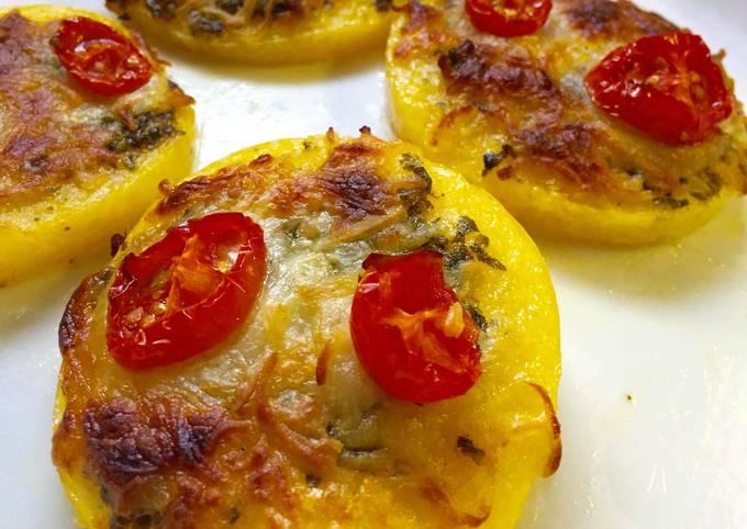 Steps to Prepare Speedy Mini Polenta Pizzas With Tomatoes And Pesto