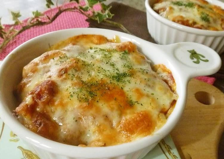 How to Make Appetizing Quick and Easy Bread Au Gratin with Canned Meat Sauce