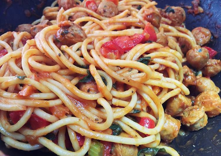 Steps to Prepare Super Quick Homemade Sicily Lean Sausage Spaghetti With Freshly Picked Basil Leaves