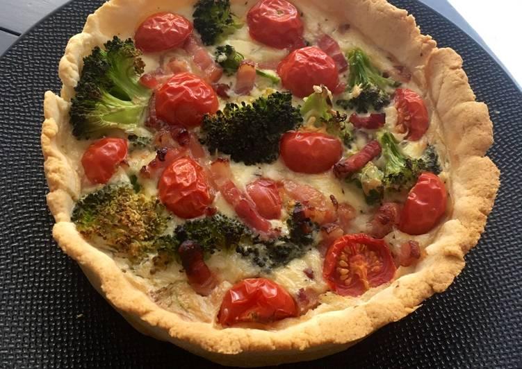 Quiche brocoli tomates cerises lardons sans œuf 🥚 !