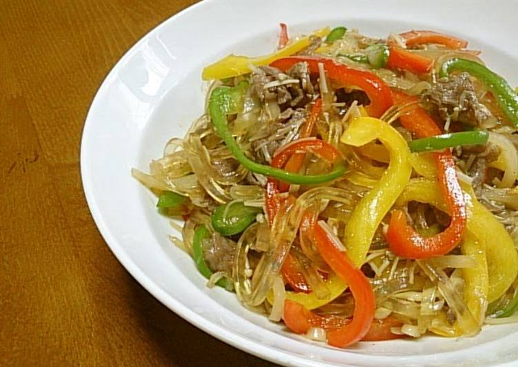 5 Minute Recipe of Quick Kudzu Noodles Chapchae