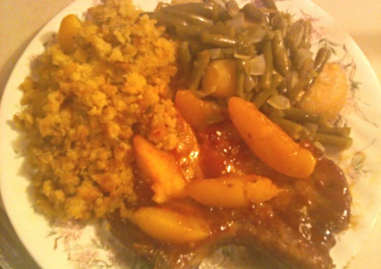How to Cook Appetizing Peach Glazed Pork Chops with Cornbread Stuffing