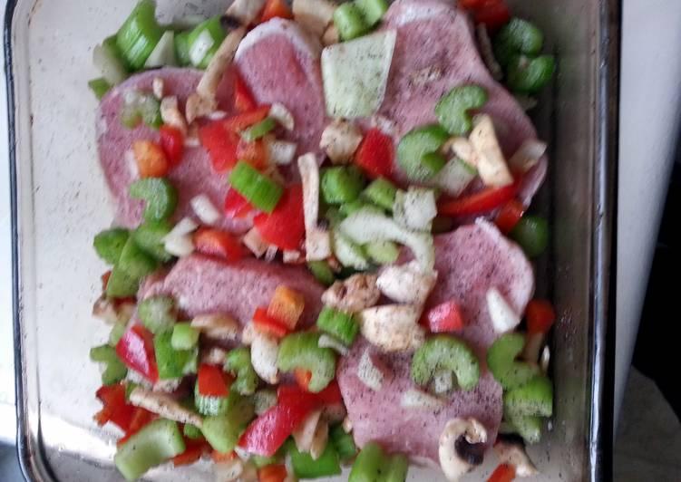 easy pork chops and veggies in a pan