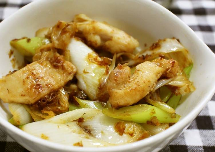 Japanese Leek, Chicken Thigh, and Bonito Flake Stir-Fry