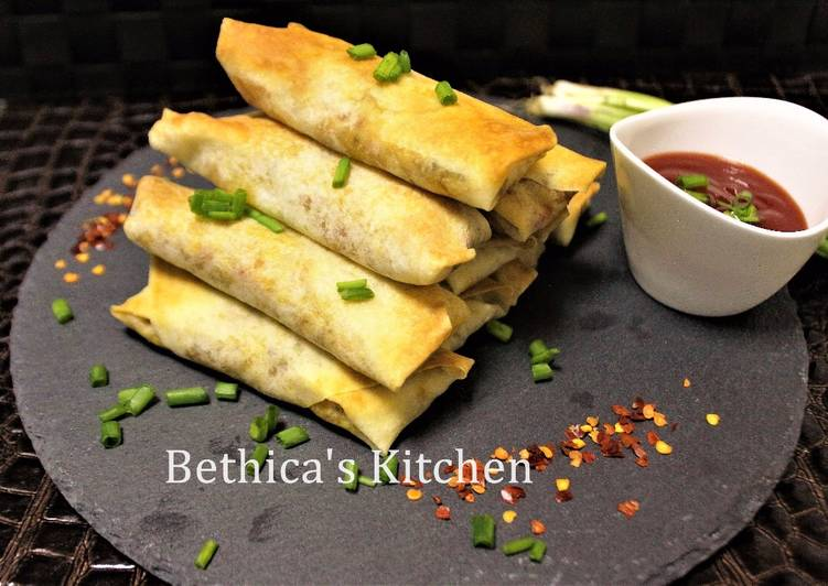 Baked Veggie Spring Rolls with Indian Flavour - Fusion Style
