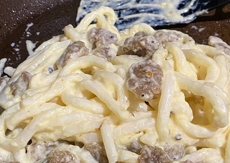 Udon Carbonara with Meatball Topping