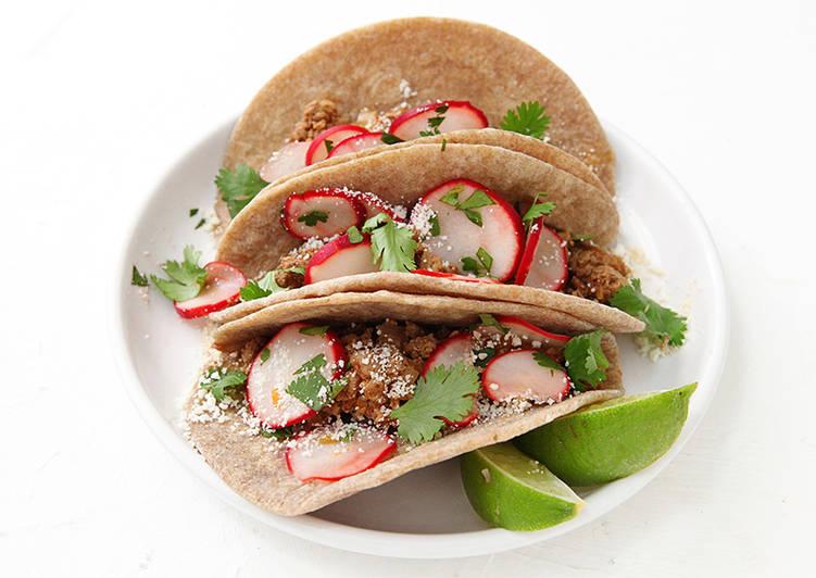 Duck Tacos, Radish-Lime Salad, Cumin-Roasted Squash