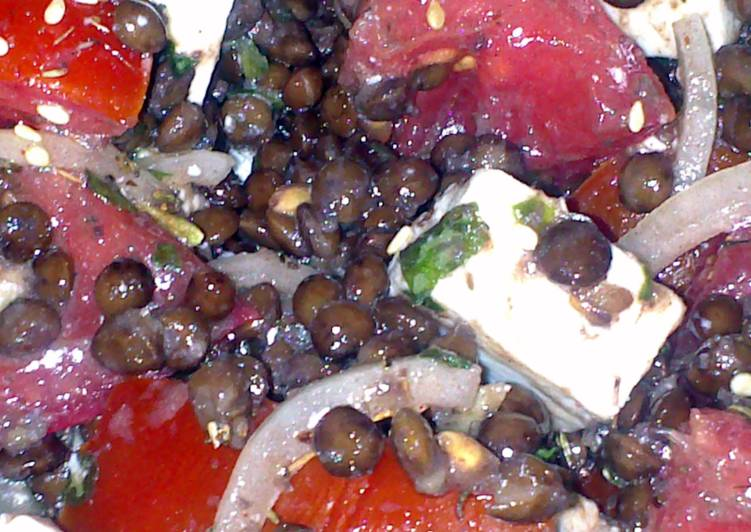 Step-by-Step Guide to Prepare Super Quick Homemade Sig's Lentil,Tomato, Zatar and Feta Salad