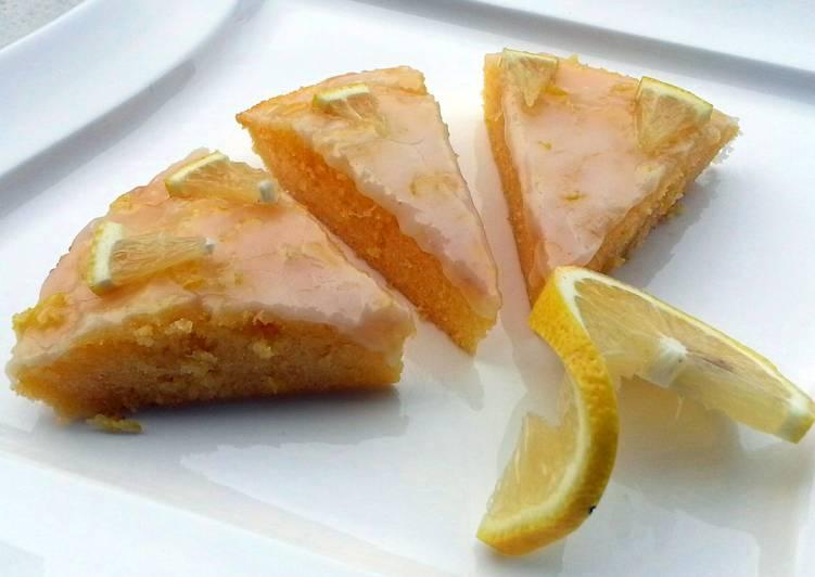 Lemon Brownies Topped with Lemon Icing Glaze