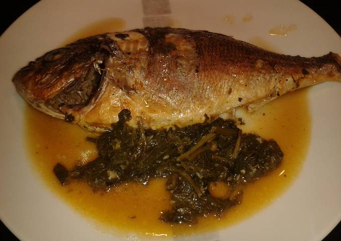 Sea Bass with spinach and white wine