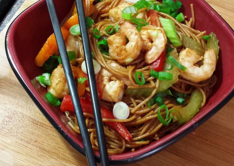 Recipe of Quick 15 min Shrimp Teriyaki Noodle Bowl �