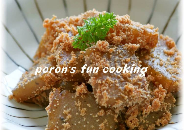 Steps to Make Super Quick Homemade Sweet and Salty Konnyaku and Tarako Butter Stir Fry