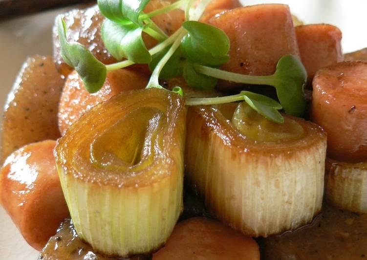 Recipe: Perfect Fish Sausage and Leek with Konnyaku