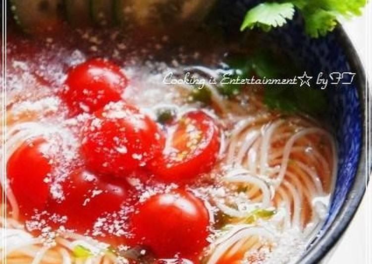 Steps to Make Speedy Sunny Tomato Somen Noodle Soup