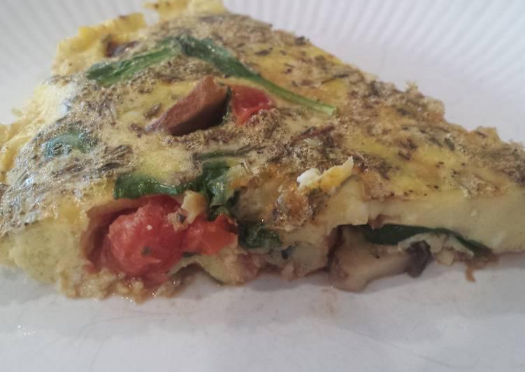 Tomato, spinach, and mushroom frittata