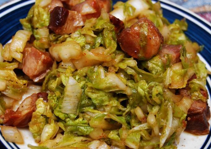 Wilted Napa Cabbage w/Bacon Lardons