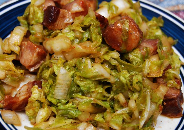 Steps to Prepare Award-winning Wilted Napa Cabbage w/Bacon Lardons