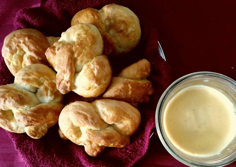 Easiest Way to Prepare Speedy Soft Pretzels and Spicy Cheese Sauce