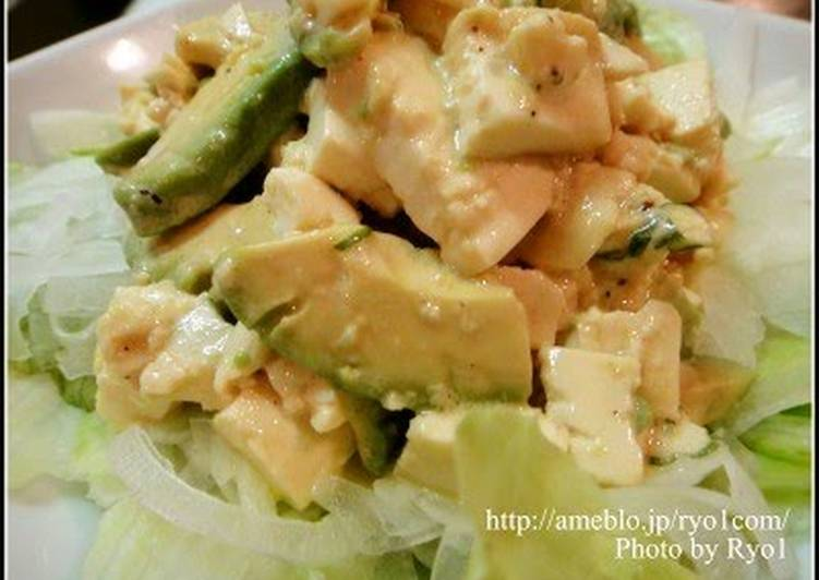Grandmother's Dinner Ideas Spring Tofu and Avocado Salad with Fragrant Basil Dressing