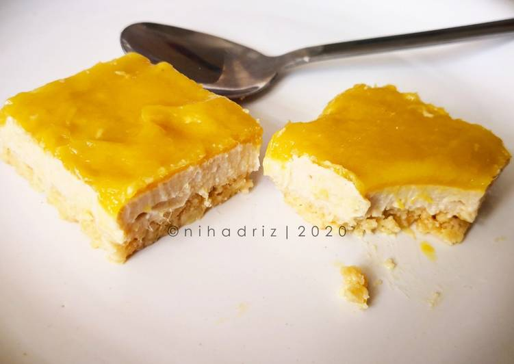 No Bake Vegan Mango Cheesecake (Tanpa Gluten atau sumber haiwan)