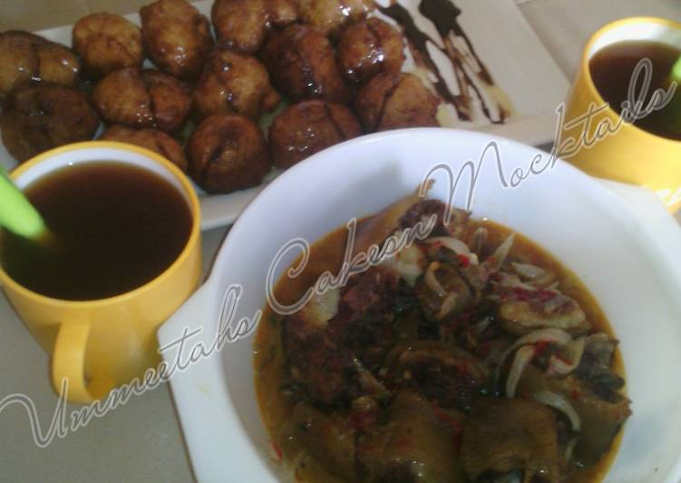 Step-by-Step Guide to Make Ultimate Special Puff puff, cow tail pepper soup and tea
