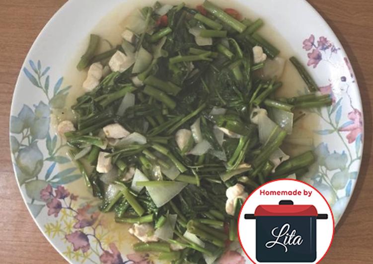 Kangkung cah ayam saus tiram simple mudah#homemadebylita