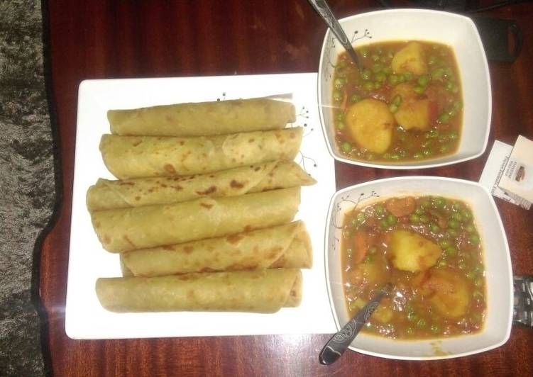 Recipe: Yummy Peas and potato stew served with chapati
