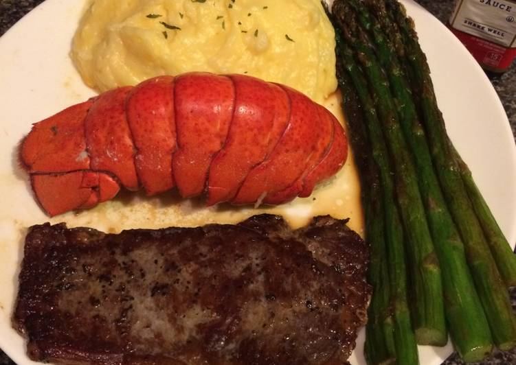 How to Prepare Delicious Thin cut New York strip with lobster and asparagus
