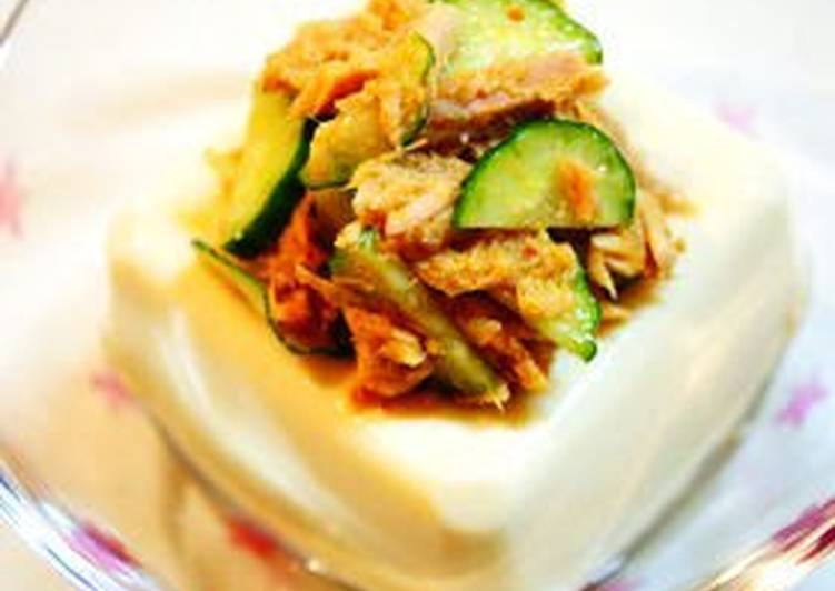 Hot and Spicy Chilled Tofu with Tuna and Cucumber