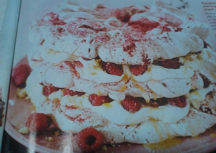 Raspberry meringue stack cake