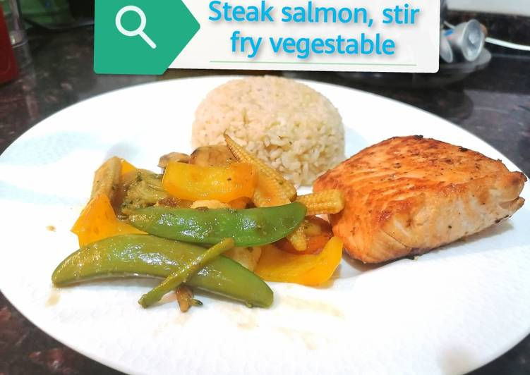 Steak salmon, stir fry vegestable/Chinese style & brown rice