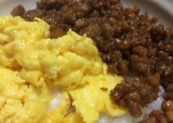 How to Prepare Delicious TwoColored Fluffy Scrambled Egg and Tofu Soboro Rice Bowl