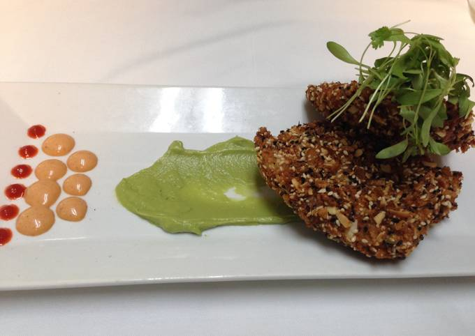 crunchy spicy grouper with avocado puree and chipotle aioli