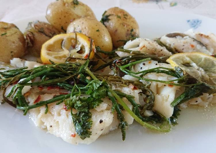 Steps to Make Homemade Baked Fish Parcels With Samphire