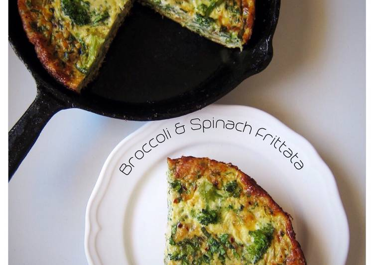 Recipe: Delicious Broccoli And Spinach Frittata