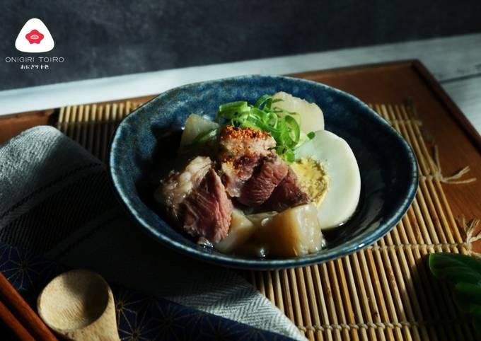 Semur Sengkel Sapi dan Lobak 牛すね肉と大根の煮物の作り Simmered Beef Shank and Daikon