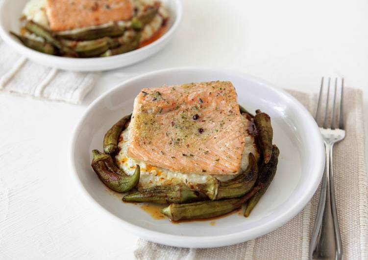 Recipe: Appetizing Roasted Salmon with Okra, Grits, and Sherry Paprika Vinaigrette