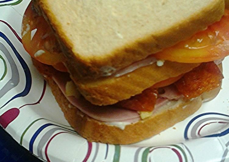 Pepperoni ham and egg sandwich
