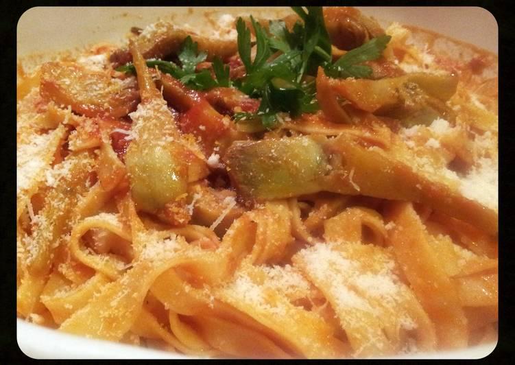 "Grandmother's Dinner Easy Summer AMIEs ""TAGLIATELLE al CARCIOFI (artichokes)"""